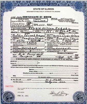 Reagan\'s birth certificate - Illinois Review