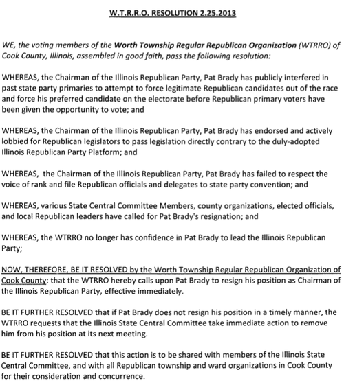 Worth Township GOP joins call for IL GOP Chairman Brady to