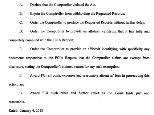 2013 FGI lawsuit