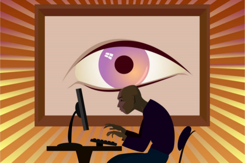 Illustration-man-with-big-brother-eye-watching-him-use-computer