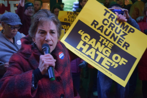 Schakowsky protest gang of hate