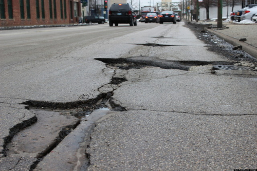 Illinois potholes in the road