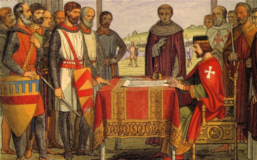 King John at Runnymede signing the Magna Carta